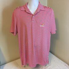 Ralph Lauren RLX Golf Polo Shirt Mens Red Stripes Piclewood Golf Club WV Medium