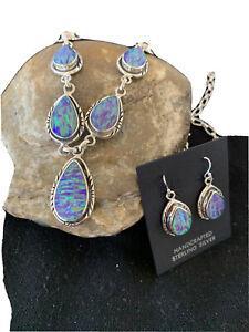 """LARIAT Navajo Sterling SILVER Purple OPAL Necklace Pendant Earrings Set19"""" 01418"""