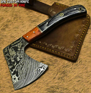 SFK Rear Handmade Damascus Steel Hard Wood Hunting Clever Chopper Axe Knife