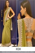Womens Bollywood Party Wear Green Sari Nylon Net Fancy Border Lace Saree Blouse