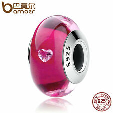 Bamoer Authentic 925 Sterling Silver glass Cerise heart Murano Bead Fit Bracelet