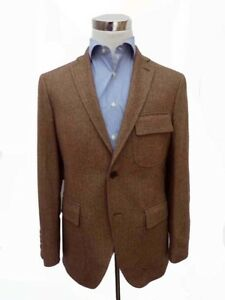 NWT Hackett Sport Coat: 44R SALE Brown herringbone 2-button cashmere