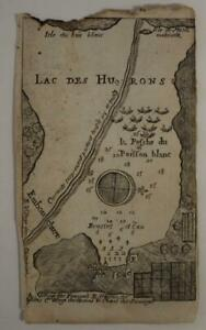 LAKE HURON MICHIGAN UNITED STATES & ONTARIO CANADA 1741 DE LAHONTAN ANTIQUE MAP
