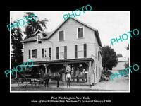 OLD LARGE HISTORIC PHOTO OF PORT WASHINGTON NEW YORK THE GENERAL STORE c1900