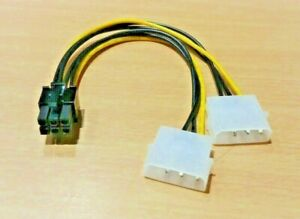 Dual 4 Pin Molex Female to 6 Pin Male PCI-e PCIE PCI Express Power Cable Adapter