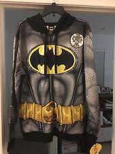 DC COMICS BATMAN MEN'S COSTUME ZIPPER HOODIE NWT AVAIL  Size S M L