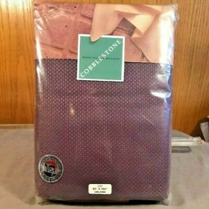 "NEW Cobblestone Richly Textured Tablecloth 60"" x 102"" Oblong Aubergine Eggplant"