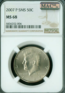 2007-P KENNEDY HALF DOLLAR NGC MS68 SMS 2ND FINEST REGISTRY MAC SPOTLESS *