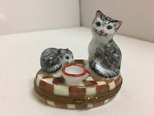Peint Main Limited Edition Limoges Trinket Box Cats w/ Milk Bowl Artist Signed