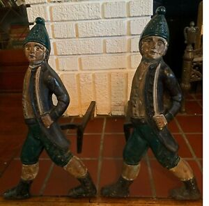 Pair of Antique Cast Iron Hessian Soldier Andirons - Original Paint