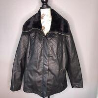 Therapy Vegan Leather Jacket & Faux Fur  Black Size XL