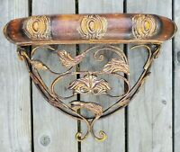 "Ornate Metal Wall Shelf Sconce Plant Stand Antique Baroque Style 14"" x 18"" x 8"""