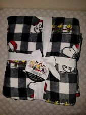 "New Berkshire Peanuts Snoopy & Woodstock Velvet Soft Checkered Blanket 90""x90"""