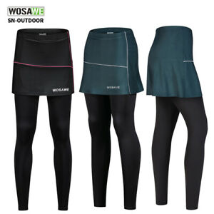 Women Cycling Trousers 2 in 1 Skirt Legging Breathable Comfort Padded Long Pants