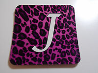 Personalised with initial pink Leopard Print coaster ideal gift for birthday