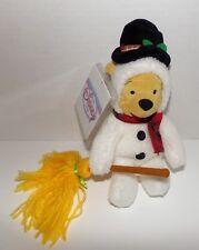 "Snowman Pooh Bear Mini Bean Bag Plush 8"" Disney Store - New With Tags"