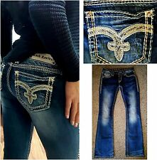 BUCKLE ROCK REVIVAL LINA MID RISE BOOT CUT STRETCH EMBELLISHED JEANS~28 X 33