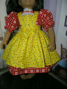 """Red Dress Bone Heart Paw Print Apron 2 piece Dress 23"""" Doll clothes fit My Twinn"""