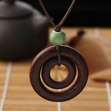 Fashion Double-circle Pendant Brown Rope Chain Handmade Resin Wood Necklace Gift