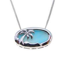Hot Sale Solid 925 Sterling Silver Natural Larimar Gemstones Necklace Pendant