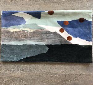 West Elm Linen Cotton Velvet Abstract Print 12 X 21 Pillow Cover Excellent Cond