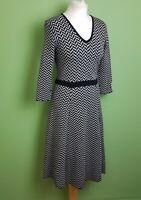 Boden Jumper Dress UK 12L Tall Grey Black Knitted Zig Zag Chevron Fit & Flare