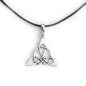 Celtic Knot Triangle Charm Choker Pendant Necklace with Black Cord