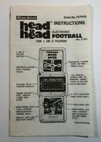 Coleco Head to Head Electronic Football Game Instructions ONLY Vintage 76740A