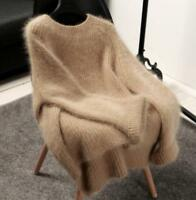 New Women Autumn Faux Cashmere Fur Pullover Sweater Oversize Loose Stretch Tops