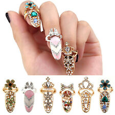 Women Pretty Bowknot Nail Ring Charm Crown Flower Crystal Finger Nail Ring NGT