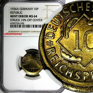 Germany-Weimar Republic 1936 A 10 Reichspfennig NGC MINT ERROR MS64 KM# 40 (245)