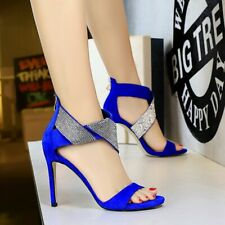 Women Stiletto Rhinestone Sandals High Heel Wedding Open Toe Shoes Party Evening