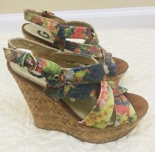 G By Guess Havana  Women US 8M Multi Color Sparkly Wedge Sandal Pre Owned