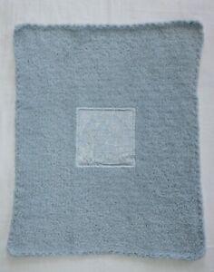 "Barefoot Dreams Chenille Security Baby Blanket 'Sandcastles' 15""x20"" Blue NWOT"