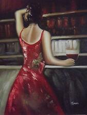 Peinture Contemporain Rouge Bordeaux Huile Sur Toile Femme Sexy Comptoir Bar