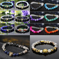 Men Women Handmade Lava Rock Bracelet Natural Gemstone Beads Buddha Head Beaded