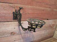ANTIQUE CAST IRON KEROSENE OIL LAMP WALL HOLDER HANGER Vintage Ornate!