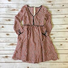 Stylewe By Oulie Dress Striped Flared 100% Silk Sz M Dressy Long Sleeve Red F31