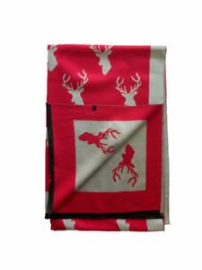 House of Tweed Grey and red Stag Luxury Reversible Blanket Scarf