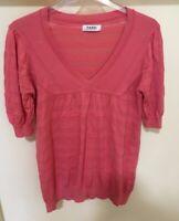 NICOLE FARHI Cotton Silk Blend Short Puff Sleeve Coral Pink Top Size M UK 12