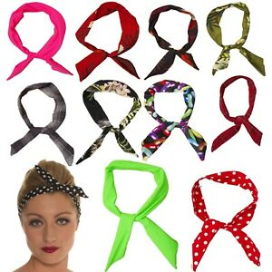 SCARF RETRO VINTAGE 50'S WIRED HAIR BAND  50'S ROCKABILLY POLKA DOT STRIPED BOW
