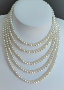 6mm Ivory Cream Glass Pearl Necklace (Choice of Length & Clasps) CLEARANCE PRICE