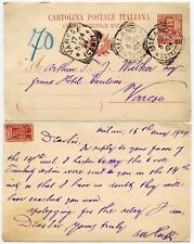 ITALY 1904 WAFER ULRICO HOEPLI on STATIONERY CARD to VARESE + ENGLISH MESSAGE