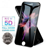 5D Gorilla Tempered Glass Screen Protector For Apple iPhone 6,7,8,Plus,X BLACK