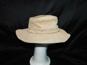 Minnetonka M Sand Brown Outback Hat Suede Leather Hippie Western Braided Trim md