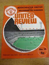 10/02/1973 Manchester United v Wolverhampton Wanderers  (Team Changes)