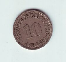 1906 E German Germany 10 Pfennig Eagle Coin O-96