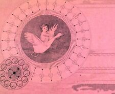 1870's Oddball Engraved image Cherub Baby Riding On Goose Pink Victorian Card &F