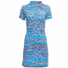 NWT Ladies IBKUL GINO Blue Black White Zebra Short Sleeve Golf Dress S M L & XL