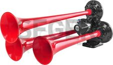 12V/24V 3 Red Trumpets Air Horn Truck Lorry Boat Marine Train Offroad 4x4 125dB